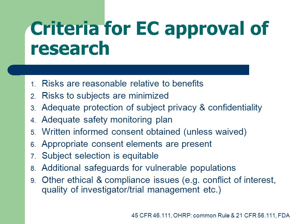 Criteria for EC approval of research