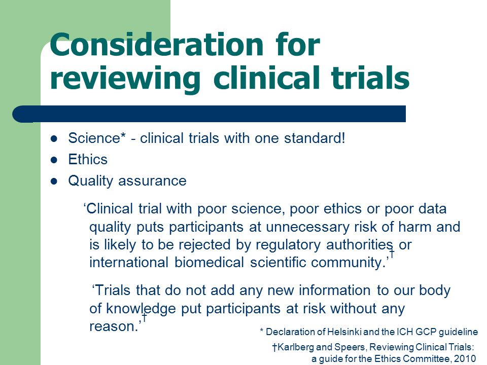 Consideration for reviewing clinical trials