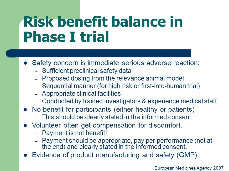 Risk benefit balance in Phase I trial