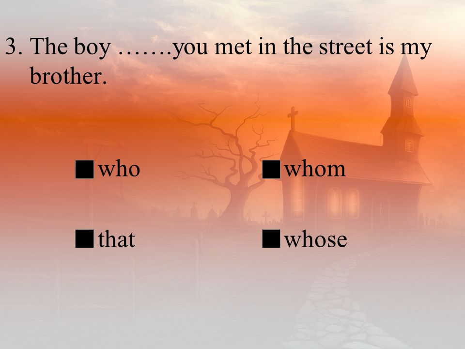 3. The boy …….you met in the street is my brother.