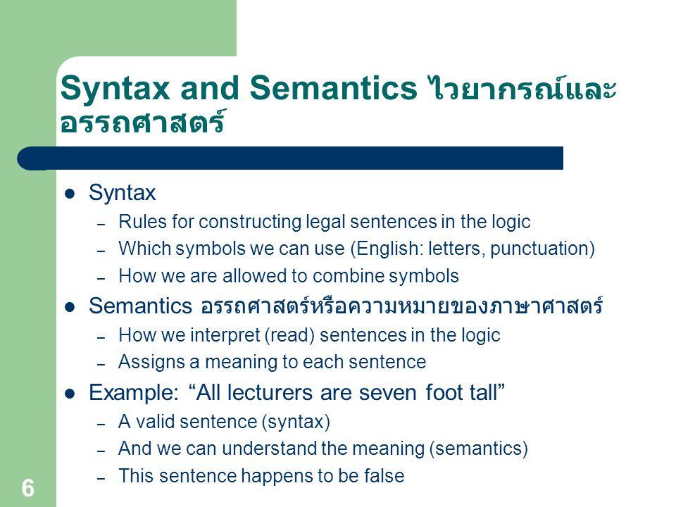 Syntax and Semantics ไวยากรณ์และอรรถศาสตร์