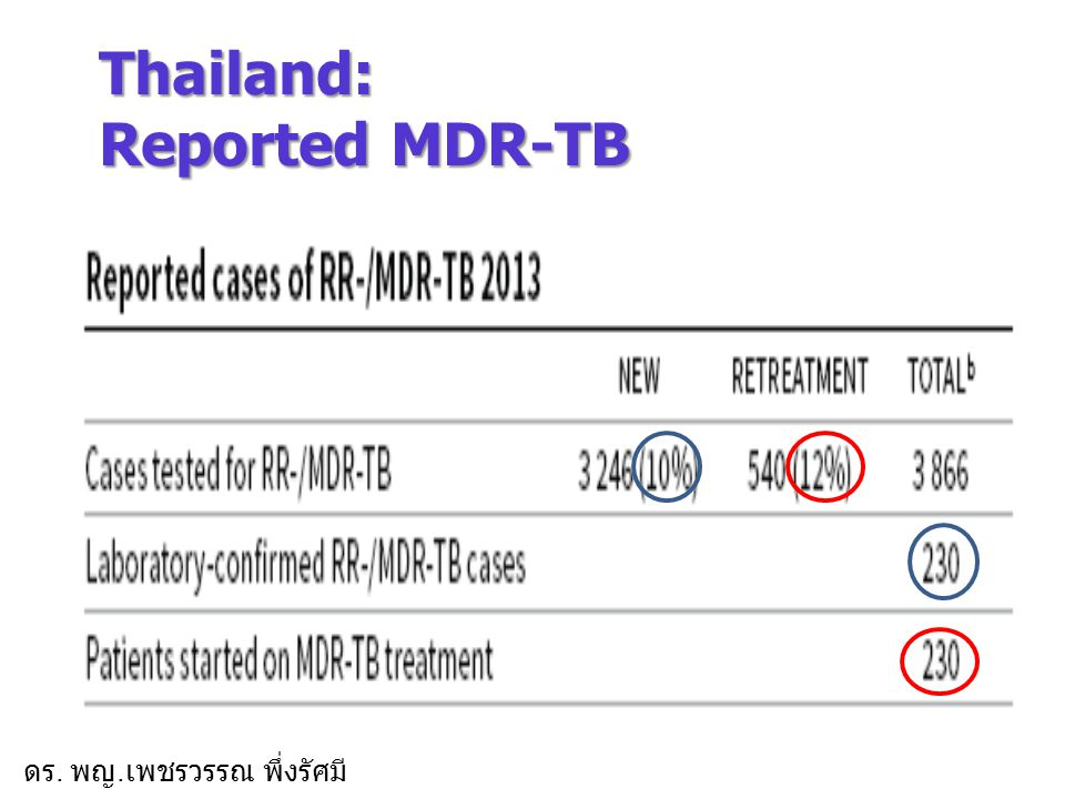 Thailand: Reported MDR-TB
