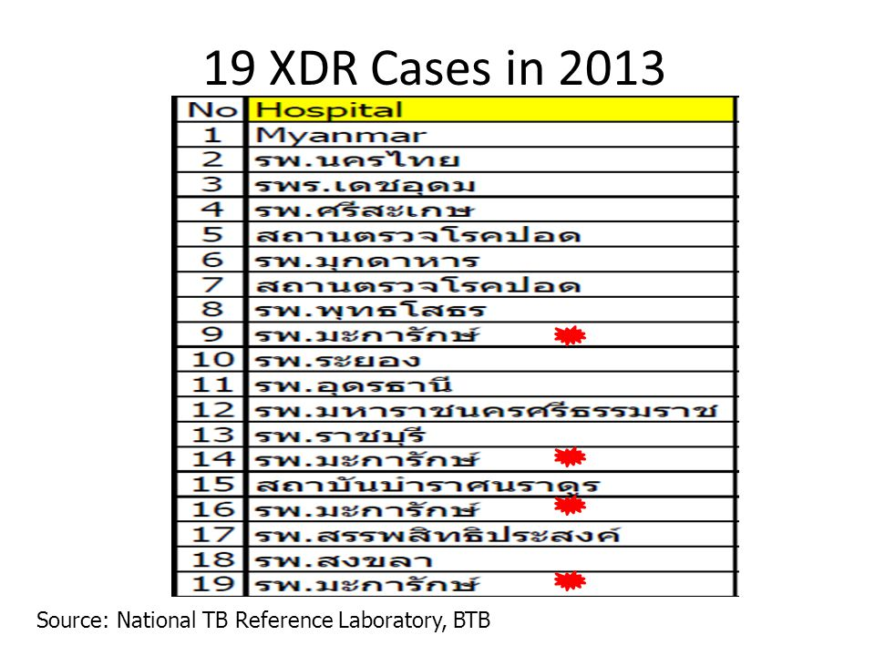 19 XDR Cases in 2013 Source: National TB Reference Laboratory, BTB