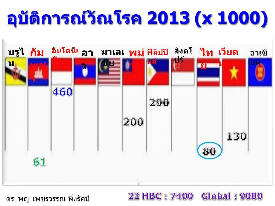 อุบัติการณ์วัณโรค 2013 (x 1000)