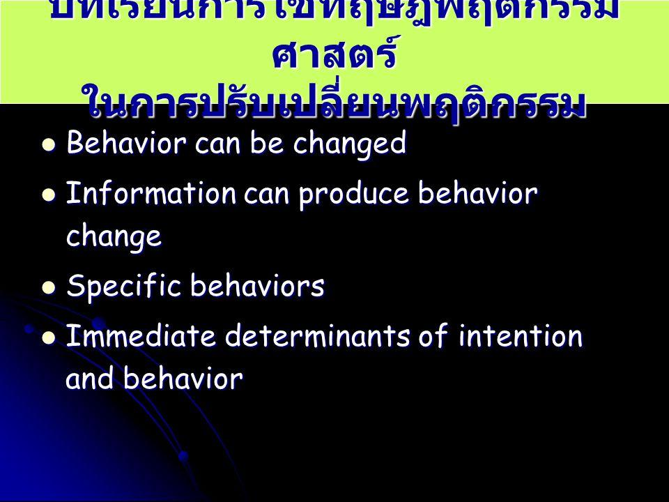 บทเรียนการใช้ทฤษฎีพฤติกรรมศาสตร์ ในการปรับเปลี่ยนพฤติกรรม