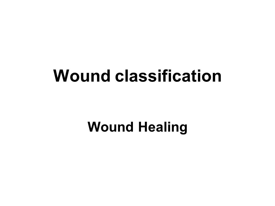 Wound classification Wound Healing