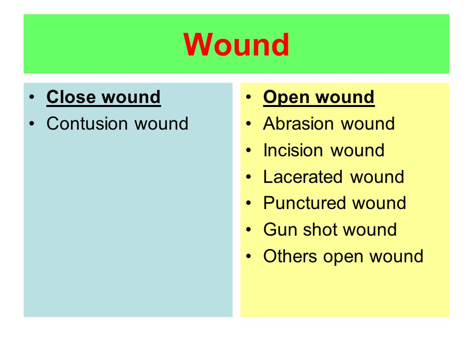 Wound Close wound Contusion wound Open wound Abrasion wound