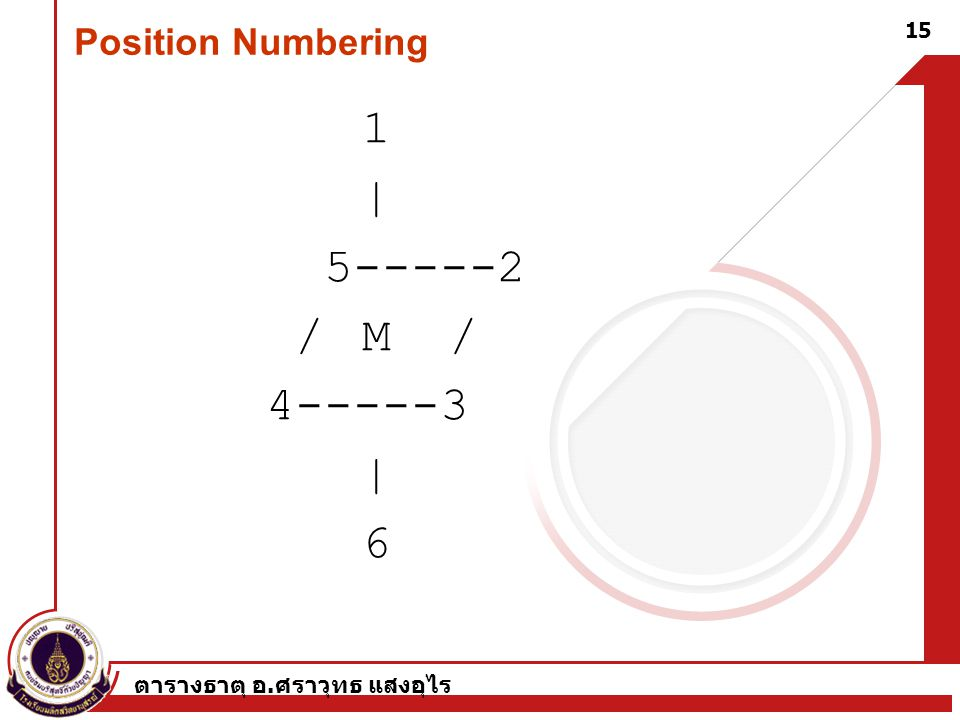 | 5-----2 / M / 4-----3 6 Position Numbering 1