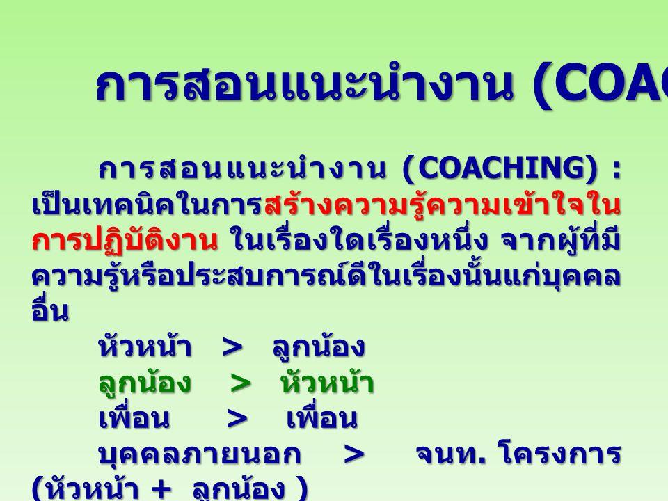 การสอนแนะนํางาน (COACHING)