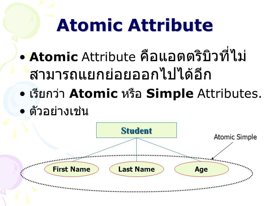 Atomic Attribute Atomic Attribute คือแอตตริบิวที่ไม่สามารถแยกย่อยออกไปได้อีก. เรียกว่า Atomic หรือ Simple Attributes.