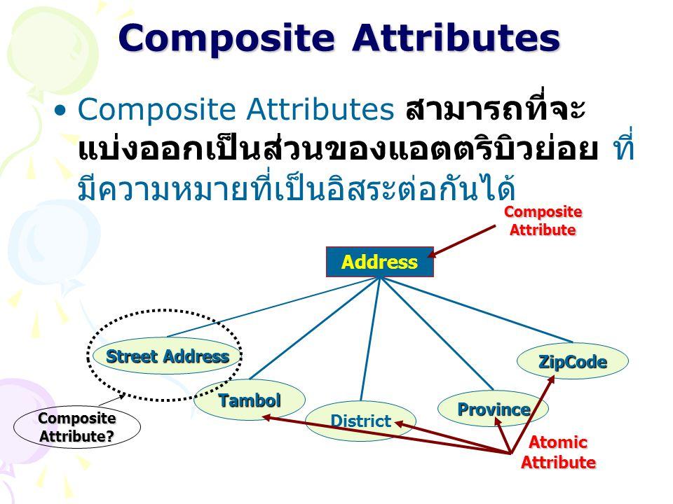 Composite Attributes Composite Attributes สามารถที่จะแบ่งออกเป็นส่วนของแอตตริบิวย่อย ที่มีความหมายที่เป็นอิสระต่อกันได้