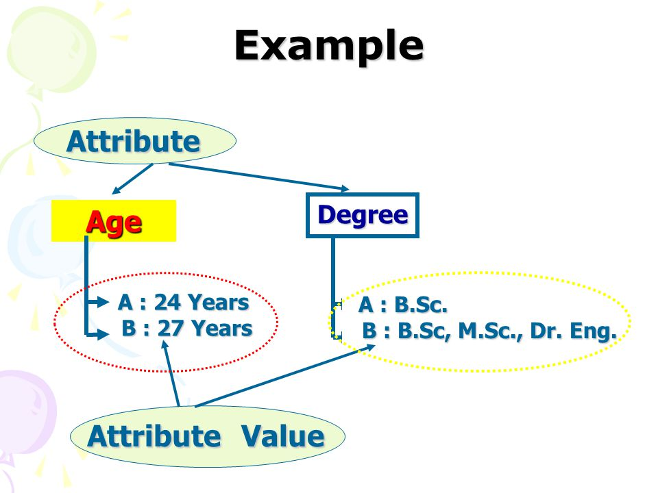 Example Attribute Age Attribute Value Degree B : 27 Years