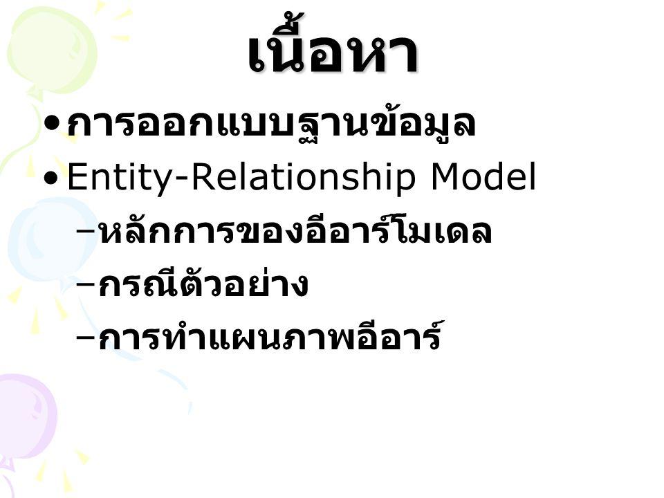 เนื้อหา การออกแบบฐานข้อมูล Entity-Relationship Model