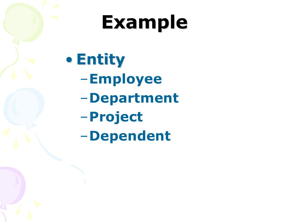 Example Entity Employee Department Project Dependent