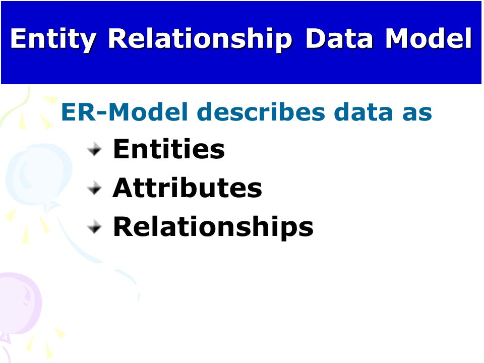Entity Relationship Data Model