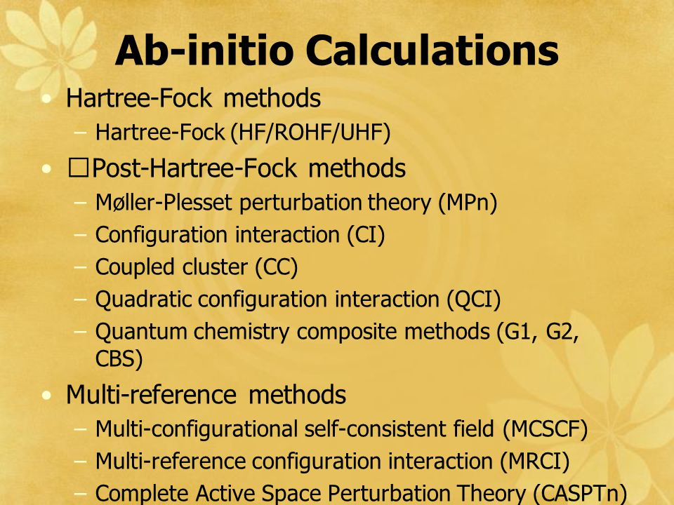Ab-initio Calculations