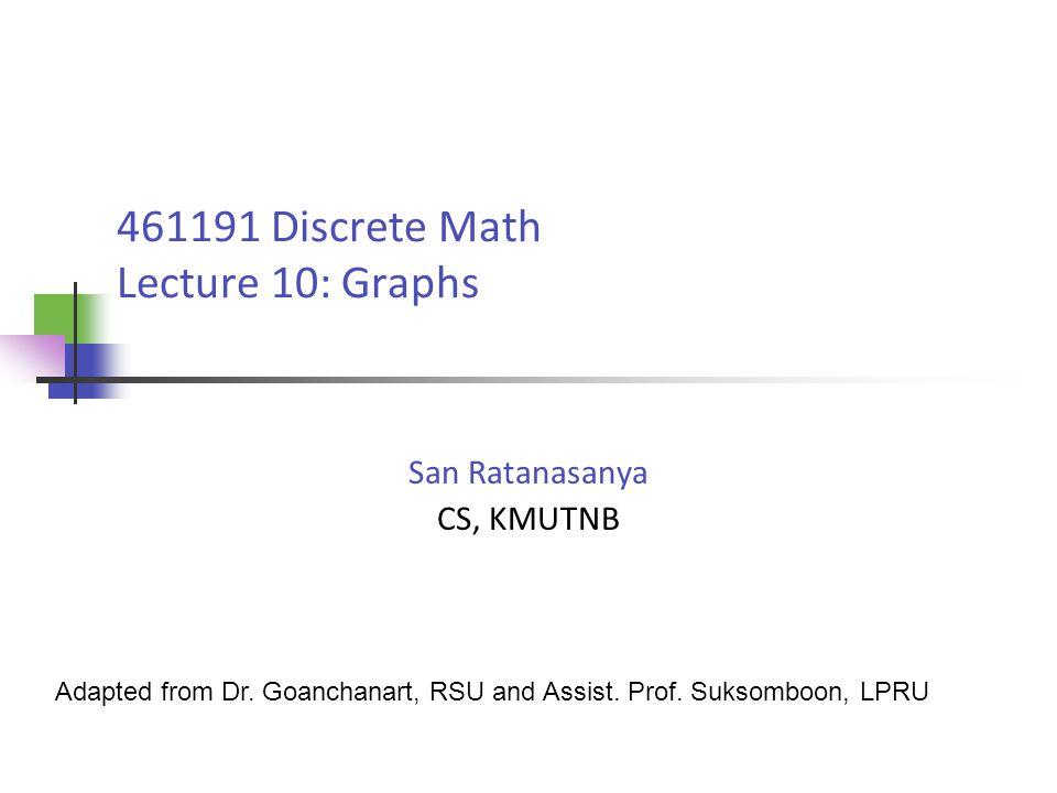 461191 Discrete Math Lecture 10: Graphs