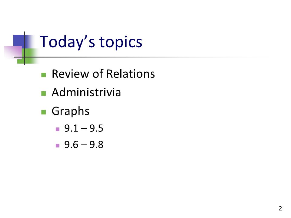 Today's topics Review of Relations Administrivia Graphs 9.1 – 9.5
