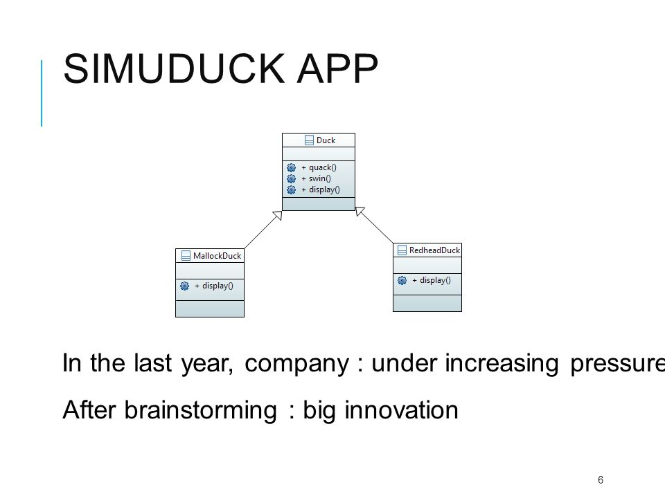 Simuduck app In the last year, company : under increasing pressure from competitors.