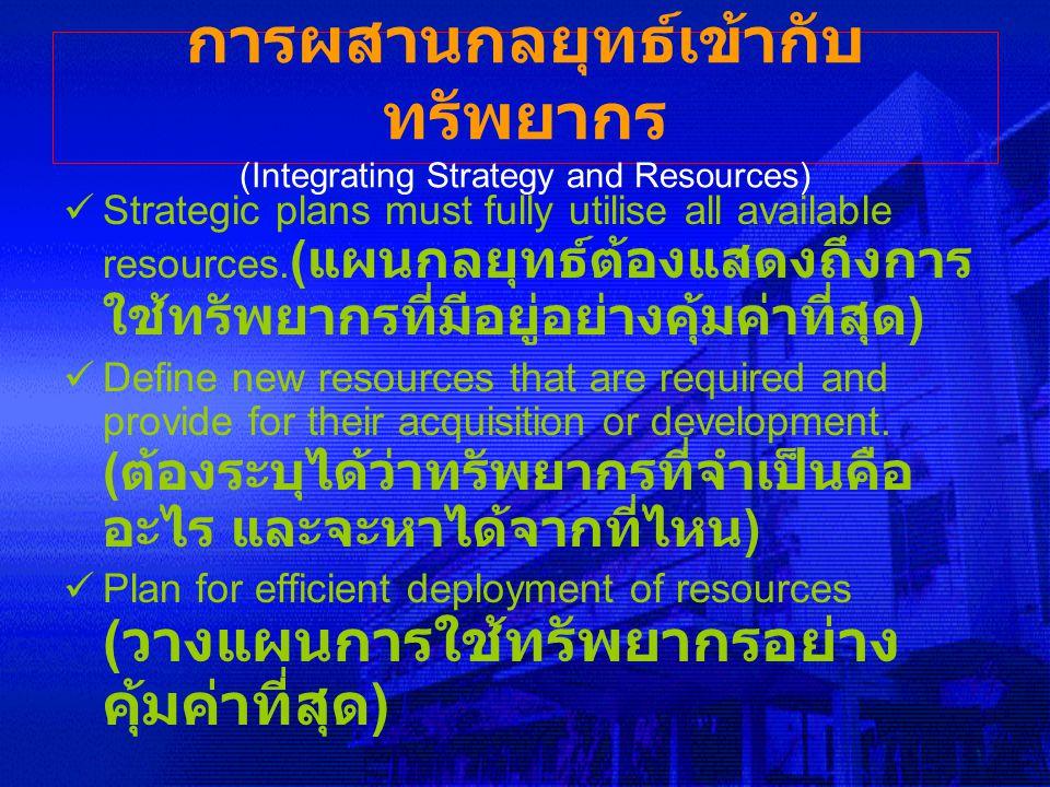 การผสานกลยุทธ์เข้ากับทรัพยากร (Integrating Strategy and Resources)