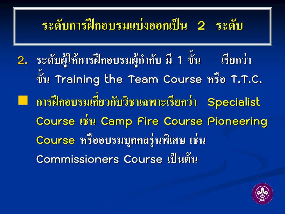 ระดับการฝึกอบรมแบ่งออกเป็น 2 ระดับ