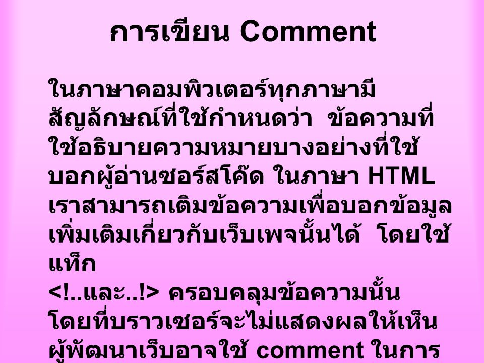 การเขียน Comment