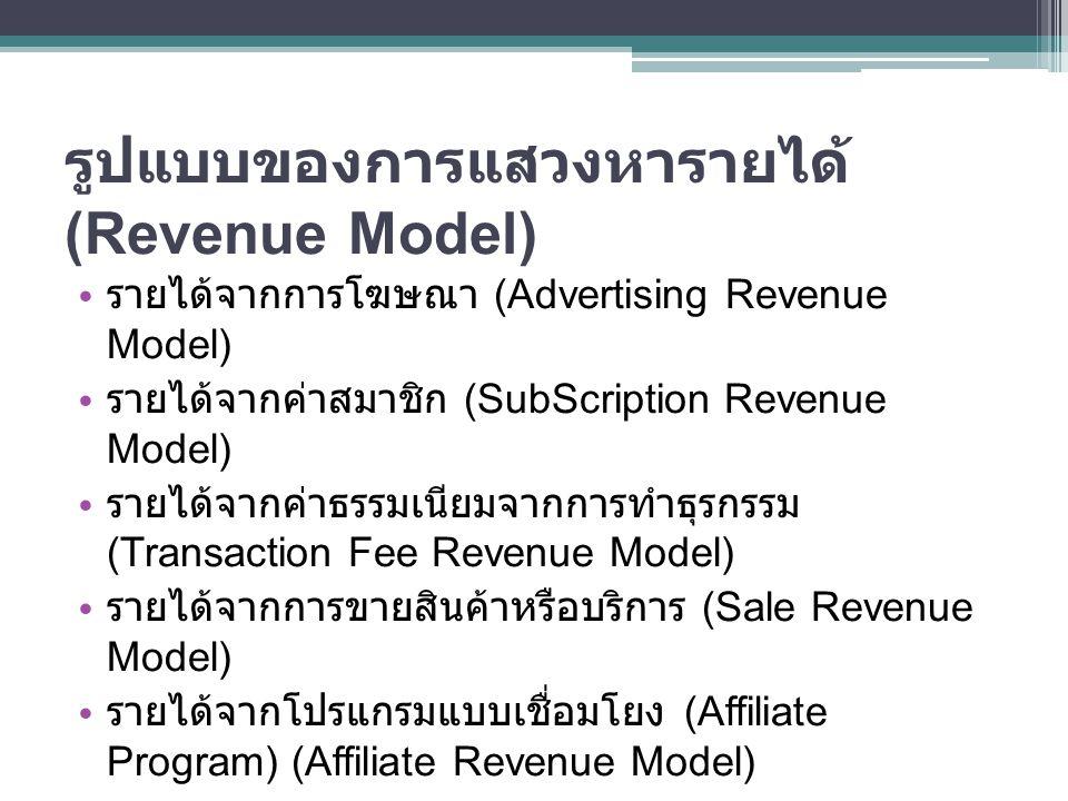 รูปแบบของการแสวงหารายได้ (Revenue Model)