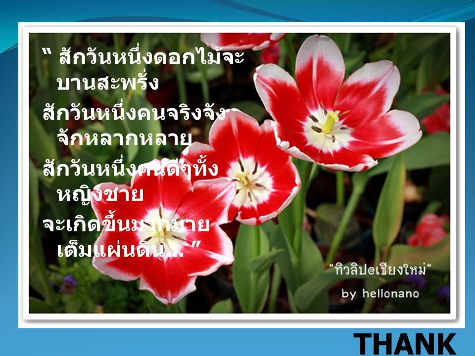 สักวันหนึ่งดอกไม้จะบานสะพรั่ง สักวันหนึ่งคนจริงจังจักหลากหลาย สักวันหนึ่งคนดีๆทั้งหญิงชาย จะเกิดขึ้นมากมายเต็มแผ่นดิน...