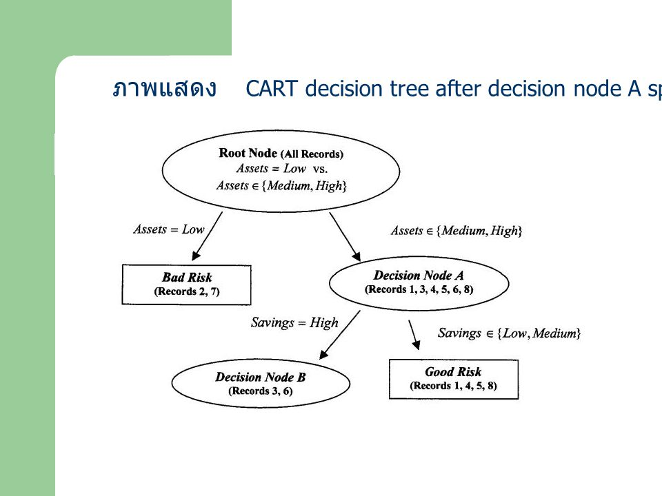 ภาพแสดง CART decision tree after decision node A split.