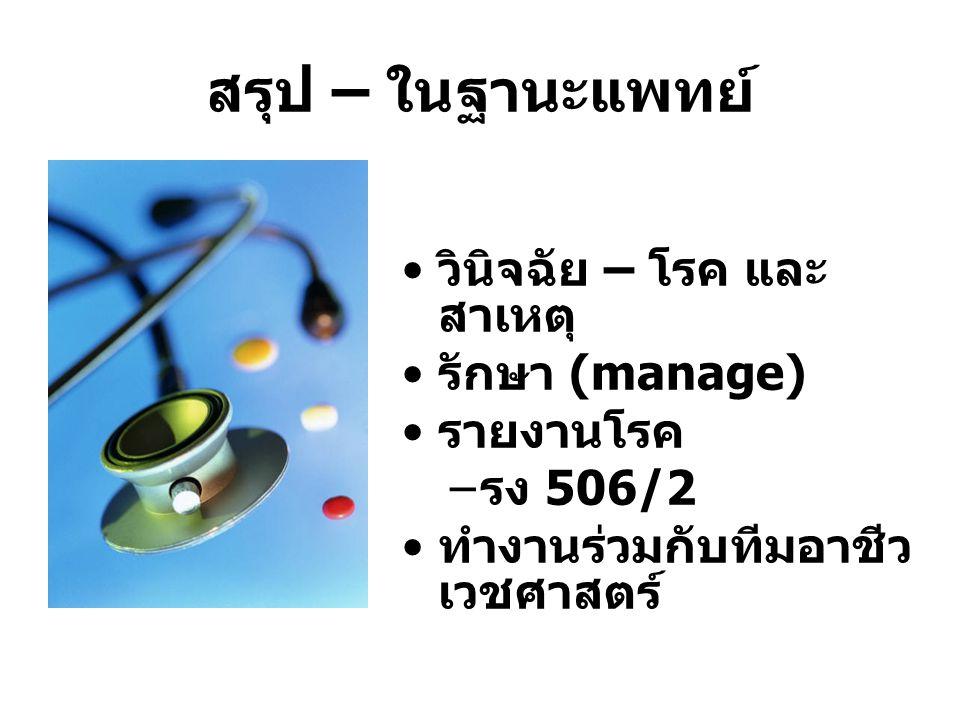 สรุป – ในฐานะแพทย์ วินิจฉัย – โรค และ สาเหตุ รักษา (manage) รายงานโรค