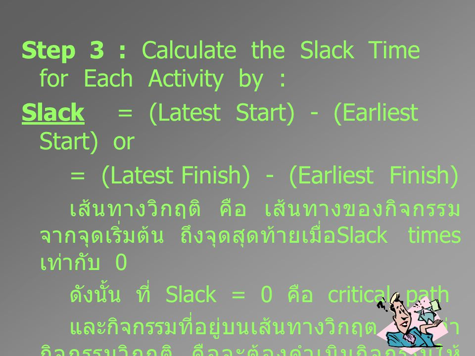 Step 3 : Calculate the Slack Time for Each Activity by :
