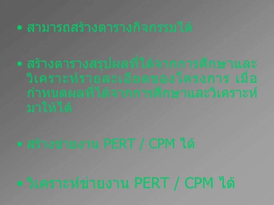 วิเคราะห์ข่ายงาน PERT / CPM ได้