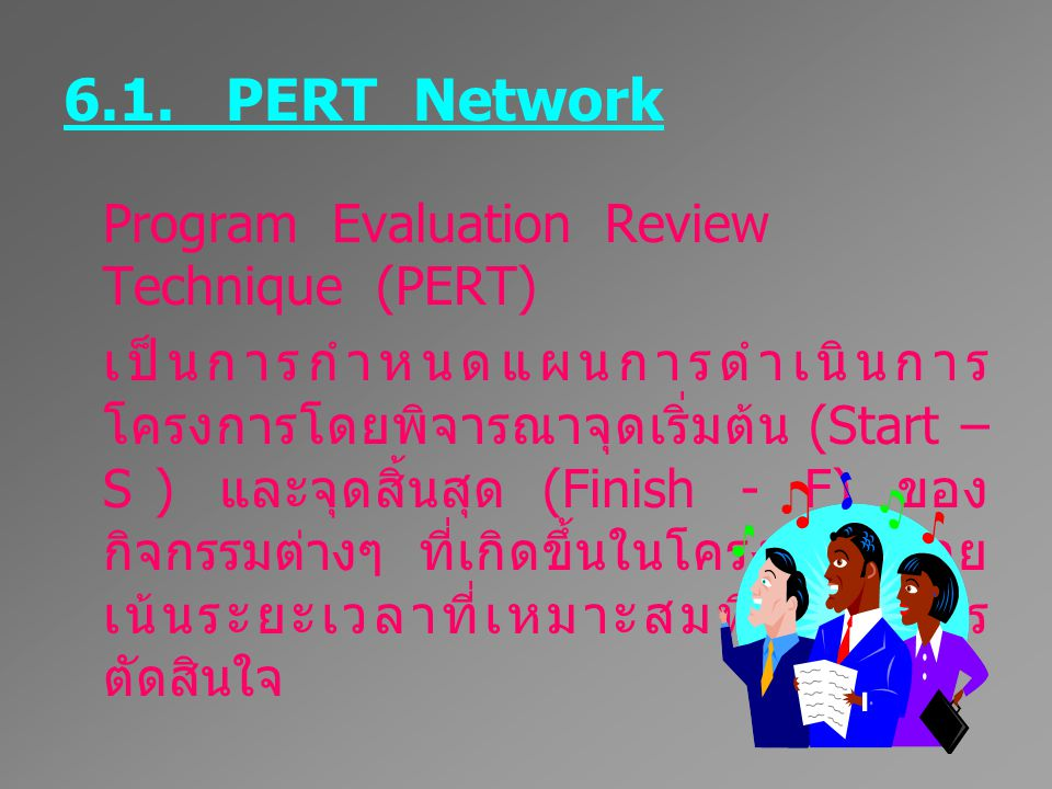 6.1. PERT Network Program Evaluation Review Technique (PERT)