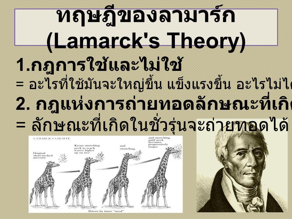 ทฤษฎีของลามาร์ก (Lamarck s Theory)