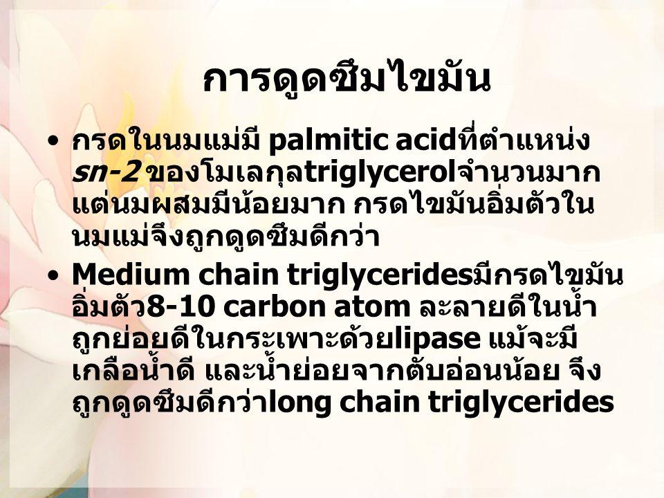 การดูดซึมไขมัน กรดในนมแม่มี palmitic acidที่ตำแหน่ง sn-2 ของโมเลกุลtriglycerolจำนวนมาก แต่นมผสมมีน้อยมาก กรดไขมันอิ่มตัวในนมแม่จึงถูกดูดซึมดีกว่า.