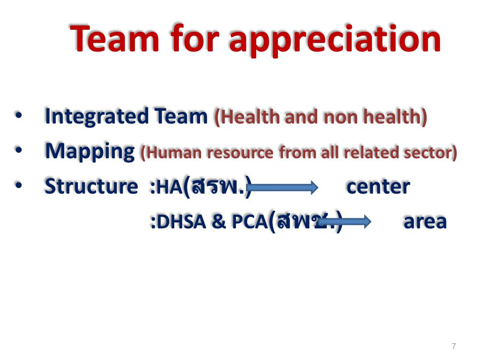 Team for appreciation Integrated Team (Health and non health)