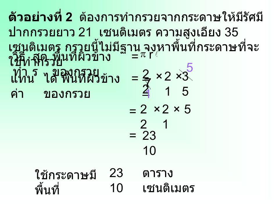 พื้นที่ผิวข้างของกรวย = 5 22 × 21 × 35 แทนค่า