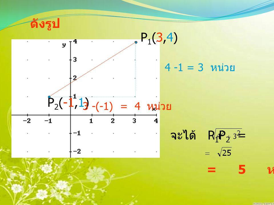 ดังรูป P1(3,4) P2(-1,1) จะได้ P1P2 = = 5 หน่วย 4 -1 = 3 หน่วย