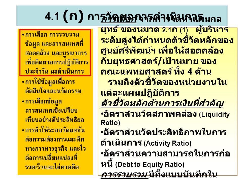 4.1 (ก) การวัดผลการดำเนินการ