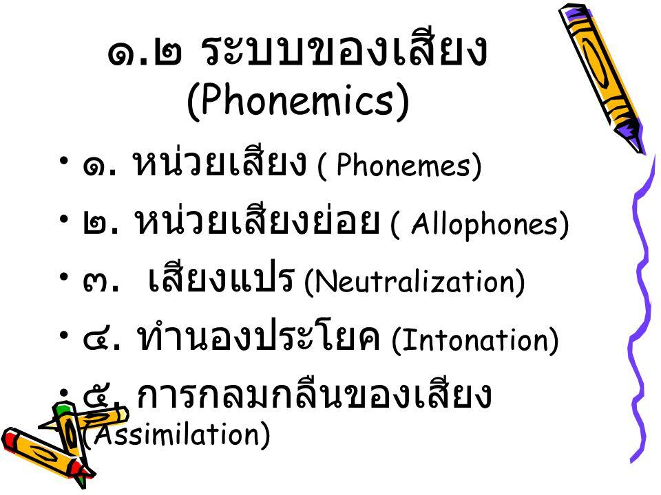 ๑.๒ ระบบของเสียง (Phonemics)