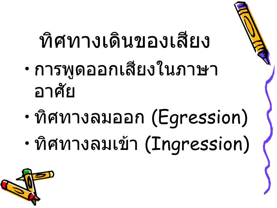 ทิศทางเดินของเสียง การพูดออกเสียงในภาษา อาศัย ทิศทางลมออก (Egression)