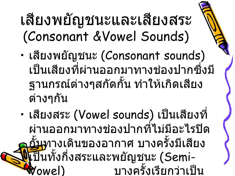 เสียงพยัญชนะและเสียงสระ (Consonant &Vowel Sounds)