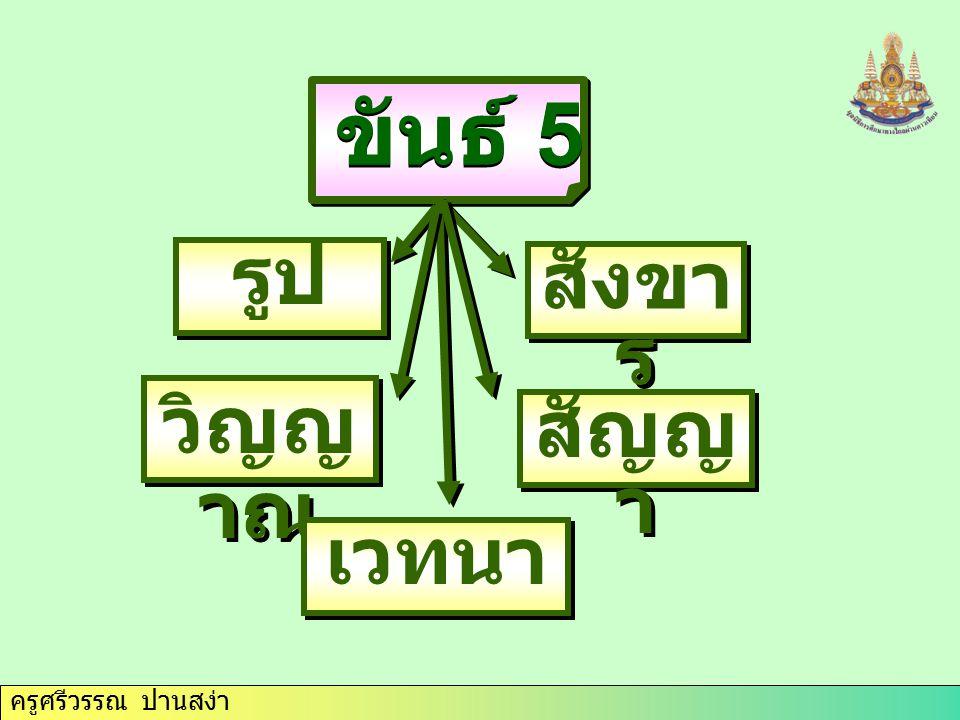 ขันธ์ 5 รูป สังขาร วิญญาณ สัญญา เวทนา