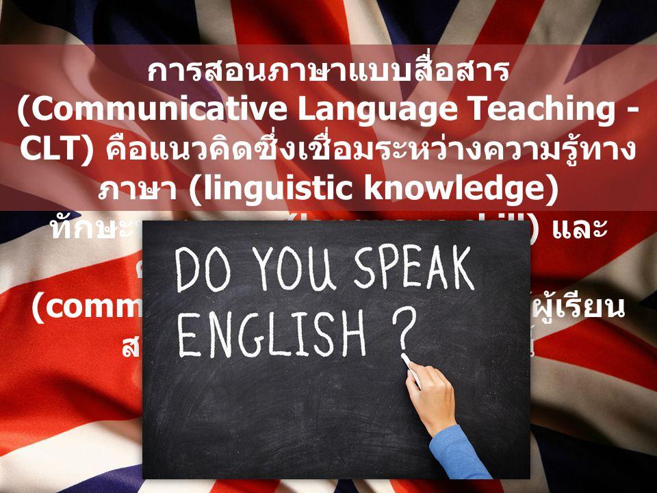 การสอนภาษาแบบสื่อสาร (Communicative Language Teaching - CLT) คือแนวคิดซึ่งเชื่อมระหว่างความรู้ทางภาษา (linguistic knowledge)