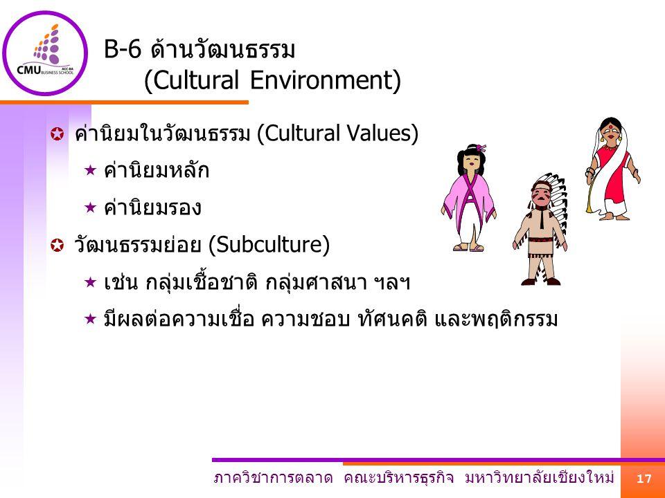B-6 ด้านวัฒนธรรม (Cultural Environment)