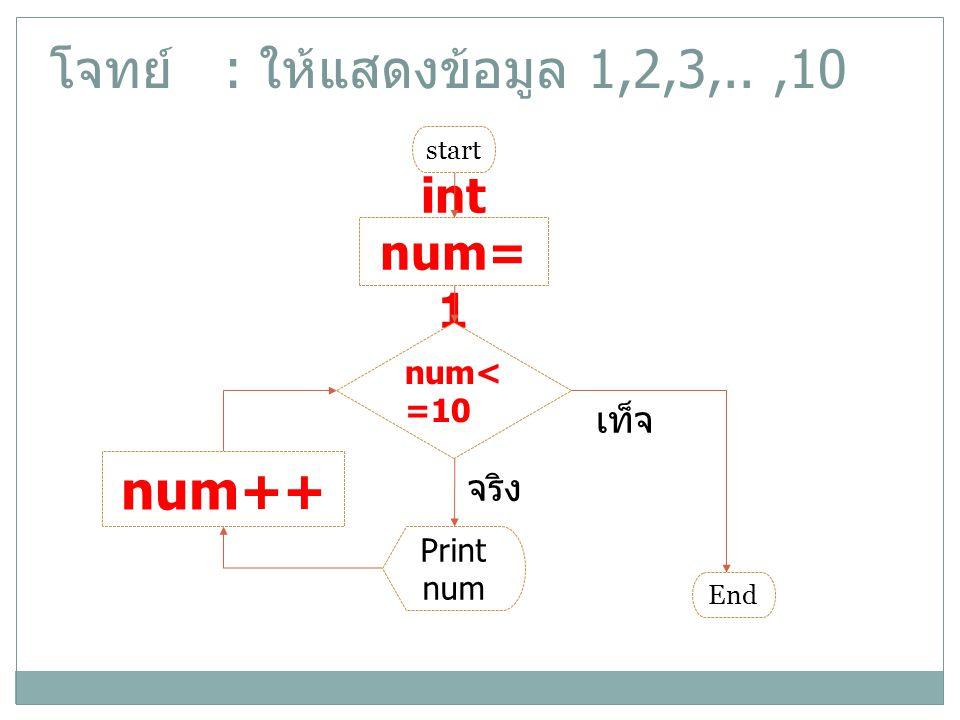 โจทย์ : ให้แสดงข้อมูล 1,2,3,.. ,10 num++ int num=1 เท็จ จริง