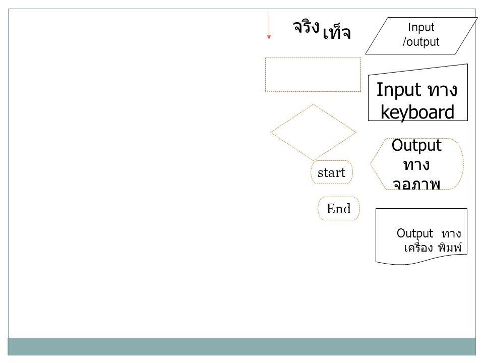 จริง เท็จ Input ทางkeyboard Output ทางจอภาพ start End Input /output