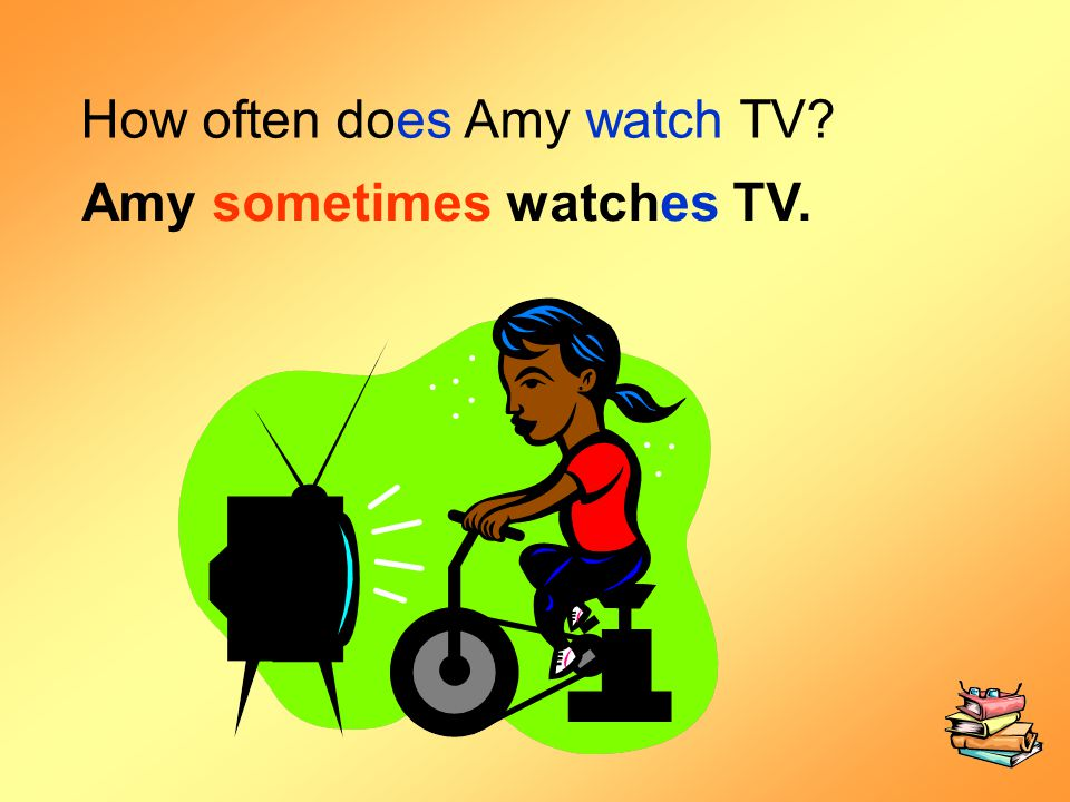 How often does Amy watch TV