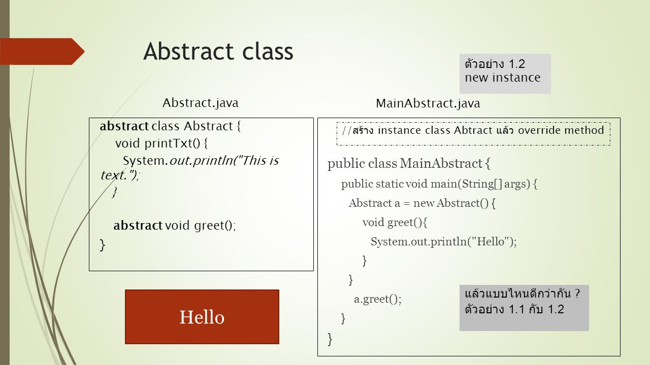 Abstract class Hello public class MainAbstract {