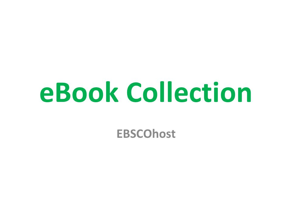 eBook Collection EBSCOhost